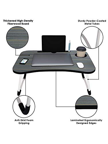 Home Folding Laptop Bed Tray Table, Portable Lap Support Frame, Bedroom Desk Notebook with Breakfast Cup Slot, Student Study Table.