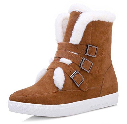 Neige Chaussures Boucles Bottines Femme Talon De Plat Confortable Bottes Aisun Brun IqSxwPZUn