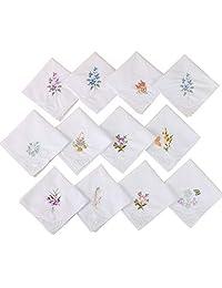 Misciu 3Pcs/Set Women Basic White Square Handkerchief Floral Embroidered Pocket Hanky Butterfly Lace Cotton Baby Bibs Portable Towel Napkin Random Random Pattern
