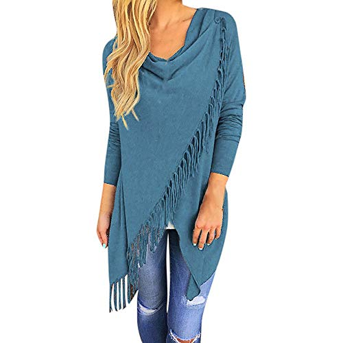 CUCUHAM Women Long Sleeve Tassel Hem Crew Neck Knited Cardigan Blouse Tops Shirt(Z1-Blue,X-Large)