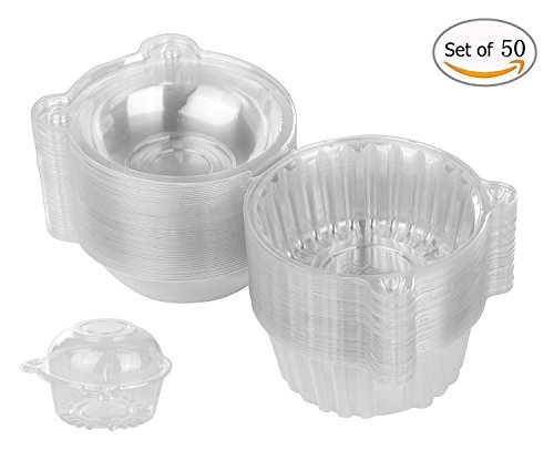 50 x Plastic Single Individual Cupcake Containers, Clear Dome Box for Sandwich Hamburgers fruit Salad Party Favor Cake Holder Muffin Case Cups Pod,(pack of 50)