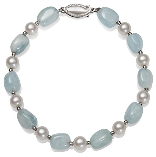 Sterling Silver Natural Aquamarine and Cultured Freshwater Pearl Strand Bracelet, 7.5