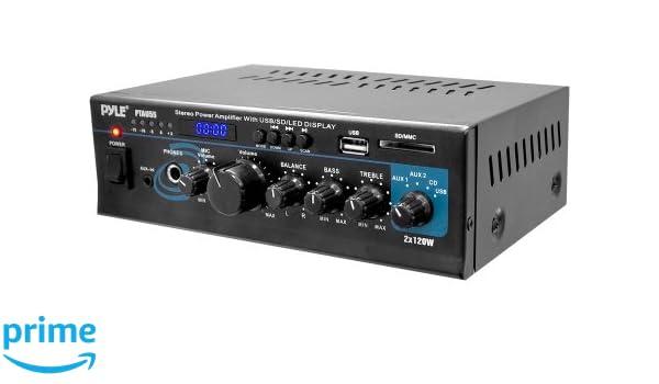 Pyle PTAU55 2.0 Hogar Alámbrico Negro - Amplificador de audio (2.0 canales, 240 W, RCA, 110-220, 210 mm, 136,9 mm): Amazon.es: Electrónica