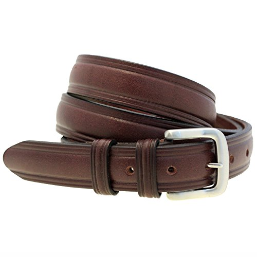 [Mens 1 1/4 Sunset Colorfast Harness Leather Domed Belt With Double Loop Size 48] (Leather Harness Buckle Belt)