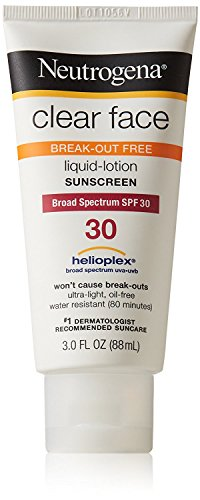 Clear Face Liquid Lotion Sunscreen For Acne-Prone Skin Broad Spectrum Spf 30, 2 Bottles