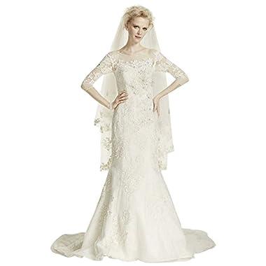 97fc08880e1 Oleg Cassini Illusion 3 4 Sleeve Wedding Dress Style CWG638
