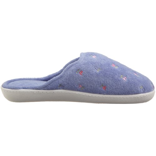 Isotoner Womens Terry Embroidered Scalloped Clog, Periwinkle, 6.5-7 M US