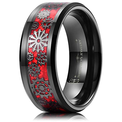 THREE KEYS JEWELRY 8mm Tungsten Rings Punk Seal Gear Mechanical Red Imitated Opal with Gun Metal Black Foil Inlay Wedding Bands for Men Size 14