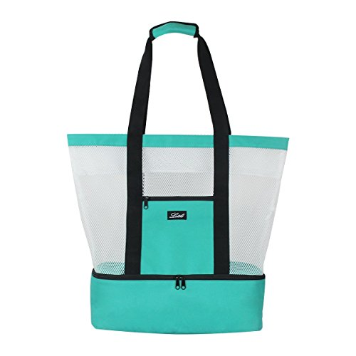 Lacle Stripe Zipper Hook Closure Resusable Canvas Tote Shoulder Shopper Bag Medium Size Large Capacity Lightweight for Beach Shopping Travel Yoga Gym - At Place Tower Stores Water