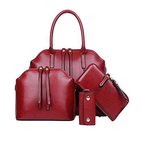 FiveloveTwo Women 4 Pcs Top Handle Satchel Hobo Handbag Set Large Tote +Purse +Shoulder Bag+Card HolderBurgundy by FiveloveTwo