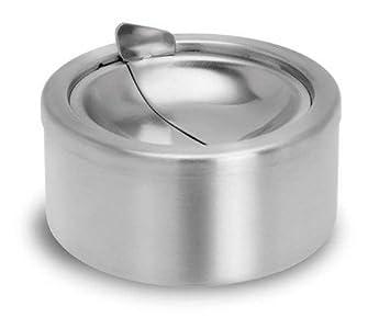 Leisial. Cenicero con Tapa Acero Inoxidable para Hogar Oficina Interiores Exteriors Suministros Almacenamiento