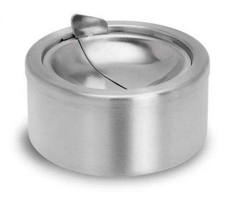 Cdet Cendrier à abattant en Inox diamètre 12 cm cenicero portátil para coche Color Gris
