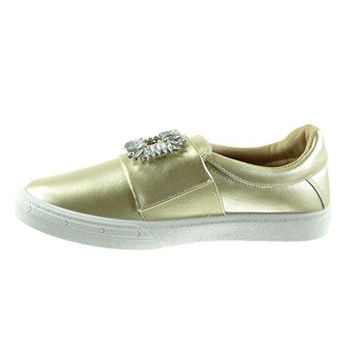 Gioielli Angkorly Da Tacco Oro 5 Piatto 2 on Cm Donna Scarpe Moda Sneaker Slip Strass wr0grx5qW