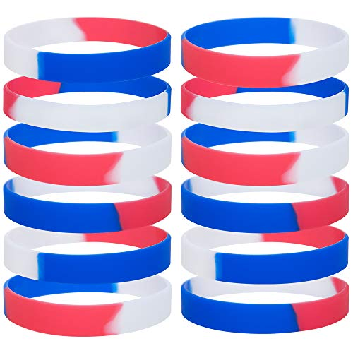 - GOGO 12 PCS Silicone Wristbands, Adult Rubber Bracelets, Party Accessories-Red White Blue