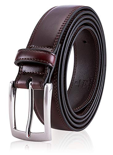 Man Leather Belt, Fashion & Classic Design for Dress and Causal (Size 36 (Waist 34), - Brown Dress Mens Belts