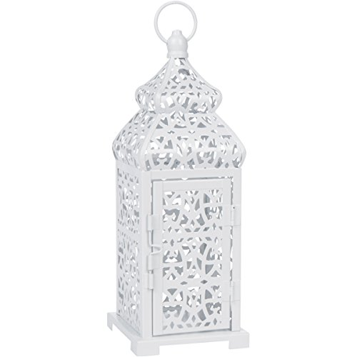 White Temple Moroccan Style Candle Lantern -