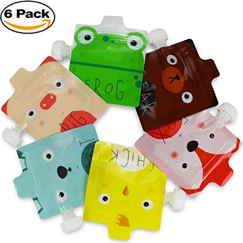 Reusable Food Pouch for Homemade Organic Baby Food Refillable Squeeze Pouches with Leak Proof Double Zipper BPA Free Self Standing Country Animals 6 Pack
