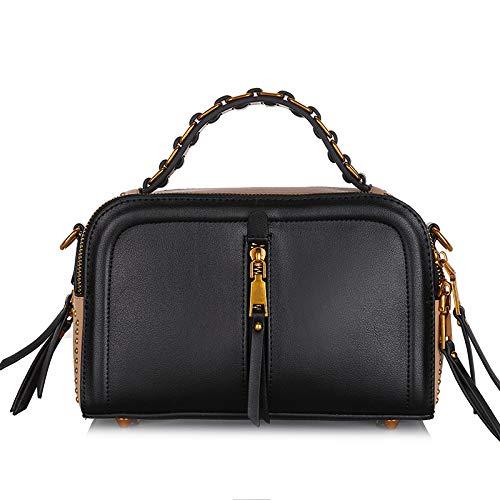 Nouveau Mode ZHANGJIA Sac Cuir en Sac Fille l'épaule Sac black à à la Un Hnp8fT