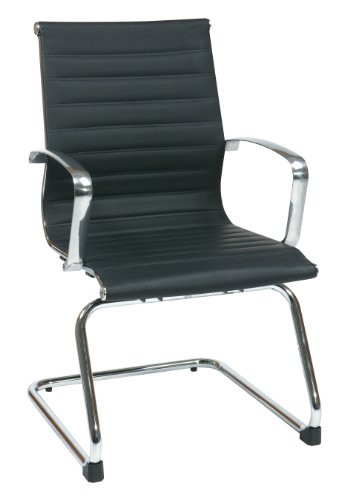 Office Star Eco Leather Visitor Chair with Polished Aluminum Frame, Arms and Sled Base, (Polished Sled Base)