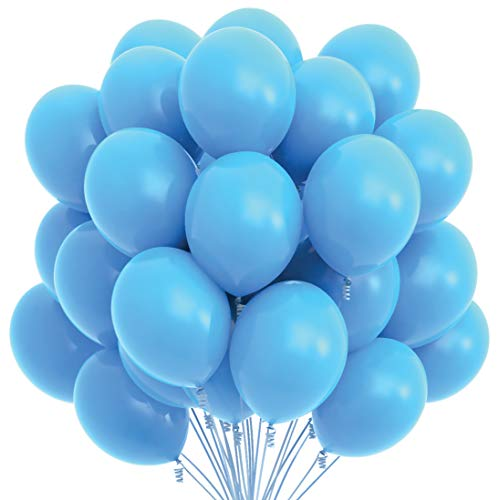 Prextex 75 Light Blue Party Balloons 12 Inch Light Blue Balloons with Matching Color Ribbon for Light Blue Theme Party Decoration, Baby Shower, Birthday Parties Supplies or Arch Décor - Helium Quality ()