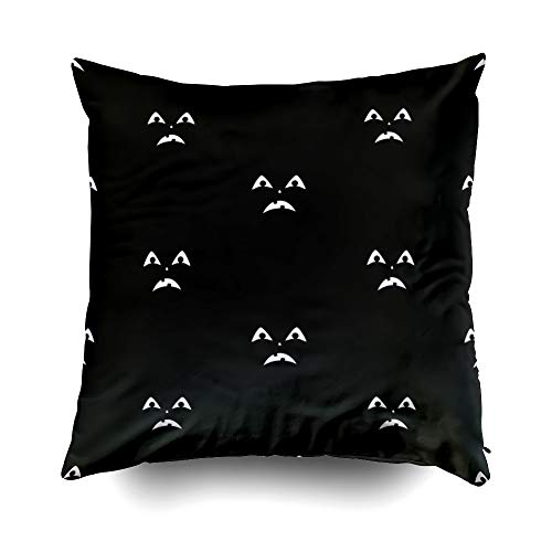 GROOTEY Pillow Case, Square Pillow Covers with Zip Couch Sofa Décor Scary Faces Halloween Pumpkins 20X20 Throw Cushion]()