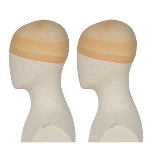 REECHO Wig Caps For Women Men Pack Of 2 One Size Halloween Costume Cosplay Accessory Stocking And Mesh Nylon Colors Natural Nude Beige Black Light Brown Dark Brown Coffee White