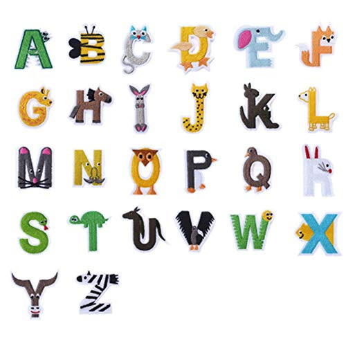 (26 Pcs English Letters Cloth Paste Embroidered Iron on Patches for Clothing DIY Appliques Garment Badge Cartoon Animal Iron on Patch)