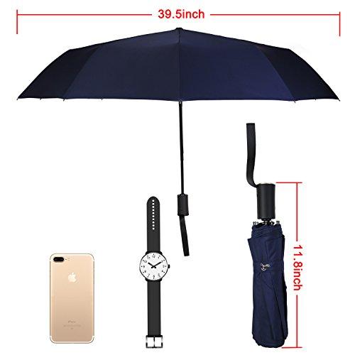 Travel Umbrella,Auto Open & Close, Travel 10 Ribs Folding Golf SizeUmbrella (blue) by Jemess (Image #5)