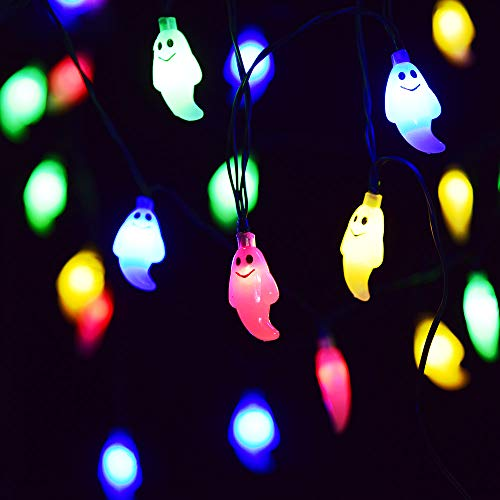 VIVREAL Halloween Ghost String Multicolor 30 LED Fairy Lights 8 Modes Battery Operated w/Remote Timer 21.3 Ft Waterproof Decorations Outdoor, Multi