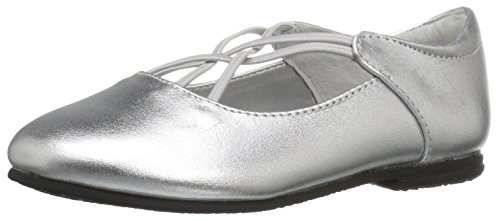 Jumping Jacks Girls' Kendra Ballet Flat, Silver/Metallic Leather, 11 M US Little Kid by Jumping Jacks