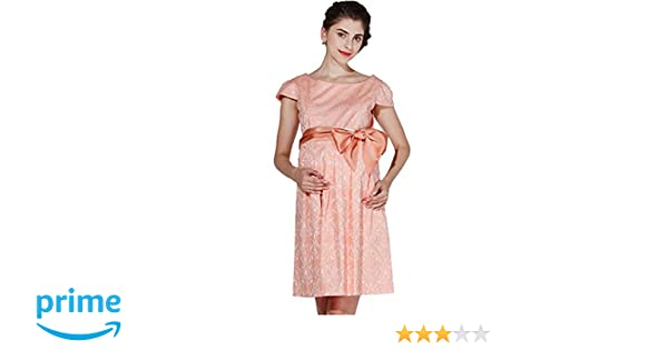 090793d3c8841 Sweet Mommy Maternity and Nursing Short Sleeve Waist Tie Stretch Jacquard  Dress
