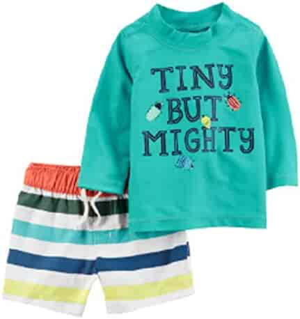 9f5ea98397 Carter's Baby Boy Tiny but Mighty Rash Guard & Striped Swim Shorts Set