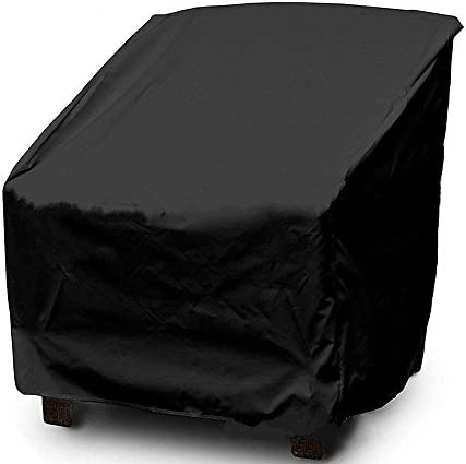 WOMACO Large Patio Chair Covers for Outdoor Wicker Furniture Waterproof Lawn Deep Chair Protector Cover for Winter Sumer Autumn Spring 1 Pack, Black