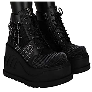 SharpSpirit Cyber Gothic Sneaker Platform Lace Up Combat Steampunk Womens Boots