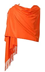 Womens Pashmina Shawl Wrap Scarf Ohayomi Solid Color Cashmere Stole Extra Large 78x28 Orange