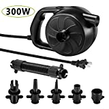 KERUITA Electric Air Pump, 300W High Power Air Pump Inflator & Deflator Valve with 5 Nozzles, 1.2PSI Pressure Fast Filling Air Pump for Air Mattress, Swimming Rings, Airbeds, Rafts, Inflatable Sofas