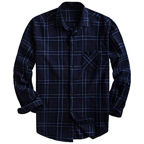Brushed Plaid Shirt - PIZZ ANNU Men's 100% Cotton