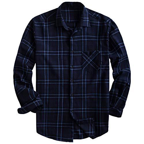PIZZ ANNU Men's 100% Cotton Long Sleeve Plaid Fleece Shirt Button Up Flannel Shirt(DTF09 ()