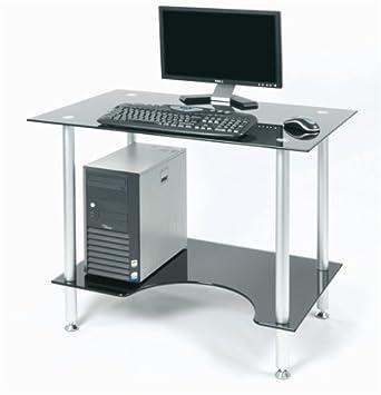 Arbeitsplatz büro schreibtisch Zyon ZB500 zeitgenössische schwarze Glas und Aluminium Computer PC ...