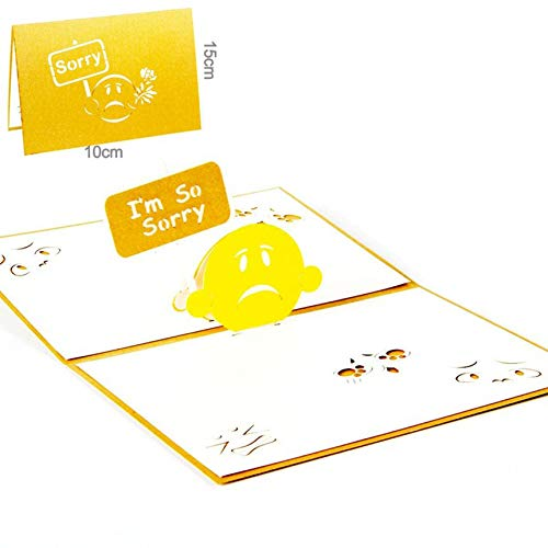 Creative 3D Hollow Greeting Card Birthday Card Festival Blessing Card Postcard yellow ()