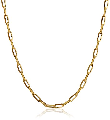 Stainless Steel Rectangular Open Link Chain Gold Plated Necklace, 24""