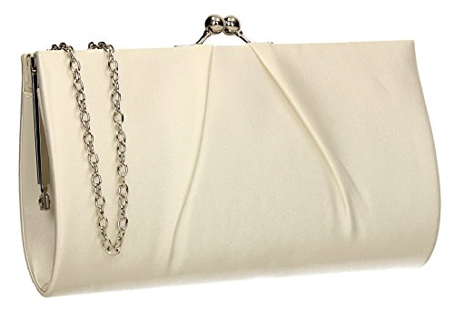 Katy Satin Frame Click Womens Party Prom Wedding Ladies Clutch Bag - (Ivory Handbag Purse)