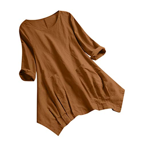 XVSSAA Women Casual Cotton Linen Long Sleeve T-Shirt, Ladies Pure Color Pockets Round Neck Long Tunic Tops Brown (Crystal Doll Juniors Cutout A Line Dress)