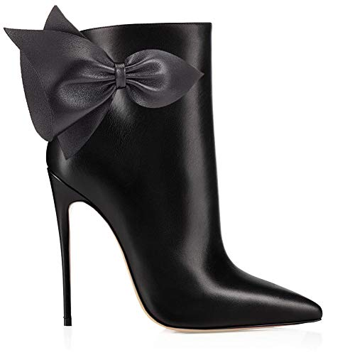 Women's Ankle Bowknot Autumn Pointed Stilettos Black Booties Boots Dress Closed VOCOSI pu Toe With 1CRwdxWq