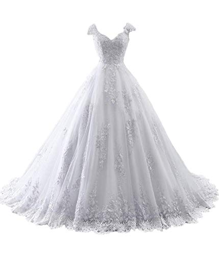 Melisa Women's Off The Shoulder Lace Sequins Wedding Dresses for Bride with Train A-Line Bridal Ball Gown