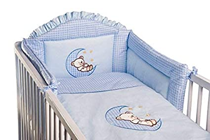 6 Piece Embroidered Baby Bedding Sets to fit Cot /& Cotbed Cot Bed 140 x 70cm, Moon White
