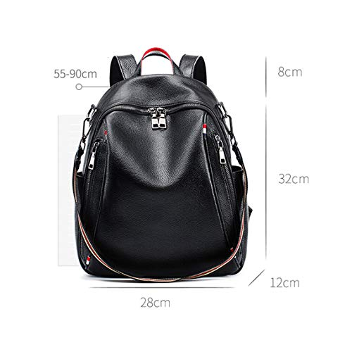 Bag Backpack Leather Student Wind Black use Travel Leisure Large Women's black Soft function Dual Wild Capacity College Simple Multi Zipper Black color nXqfX4