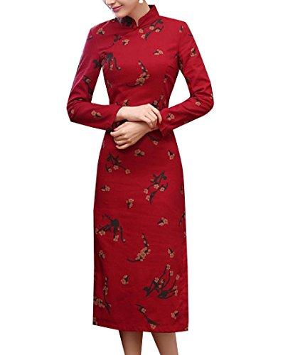 Spring Women 2 Premium Floral Coolred Slim Elegent Dress Cheongsam Linen 7Xqw6ddT