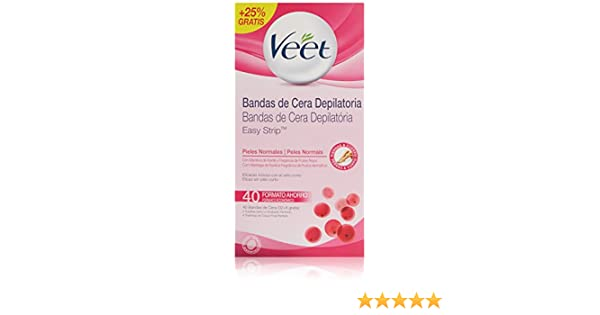 Veet Cera Fría Depilatoria para Piel Normal - 40 Bandas: Amazon.es: Amazon Pantry