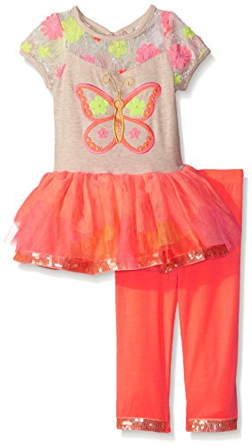 Rare Editions Baby Girls' Butterfly Tutu Legging Set, Oatmeal/Coral, 18 Months